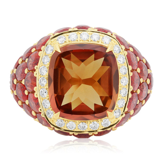 18K Yellow Gold Celebration Orange Sapphire and Diamond Ring