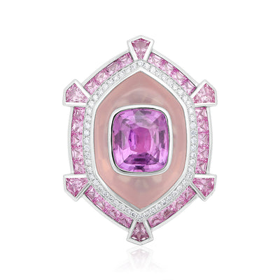 18K White Gold Pink Quartz and Pink Sapphire Ring