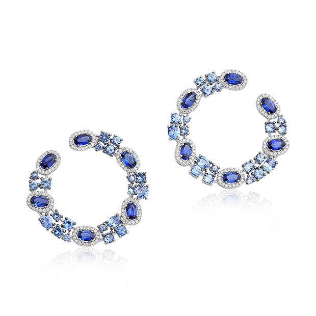 18K White Gold Diamond and Sapphire Hoops