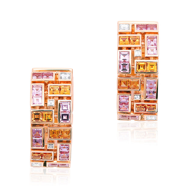 18K Rose Gold Masterpiece Collection Pink and Orange Sapphire Earrings