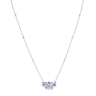 Platinum De La Vie Collection Sapphire and Diamond Necklace