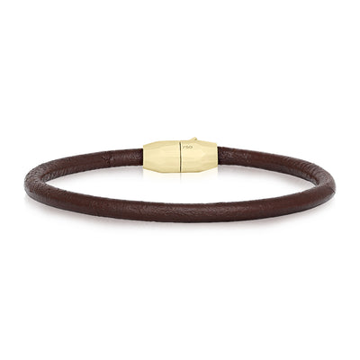 18K Yellow Gold Brown Leather Men's Bracelet