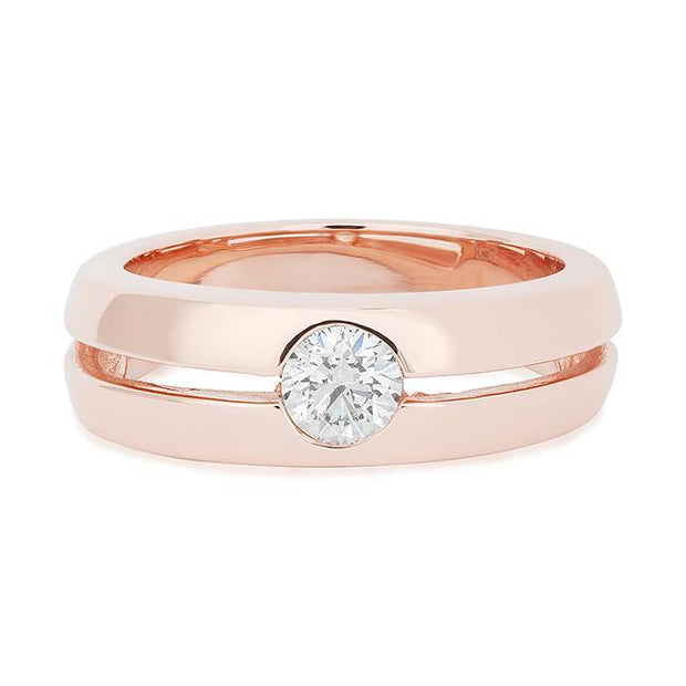 14K Rose Gold Men's Band with Diamond