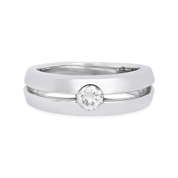 14K White Gold Men's Band with Diamond