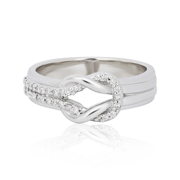 14K White Gold and Diamond Tie The Knot Ring