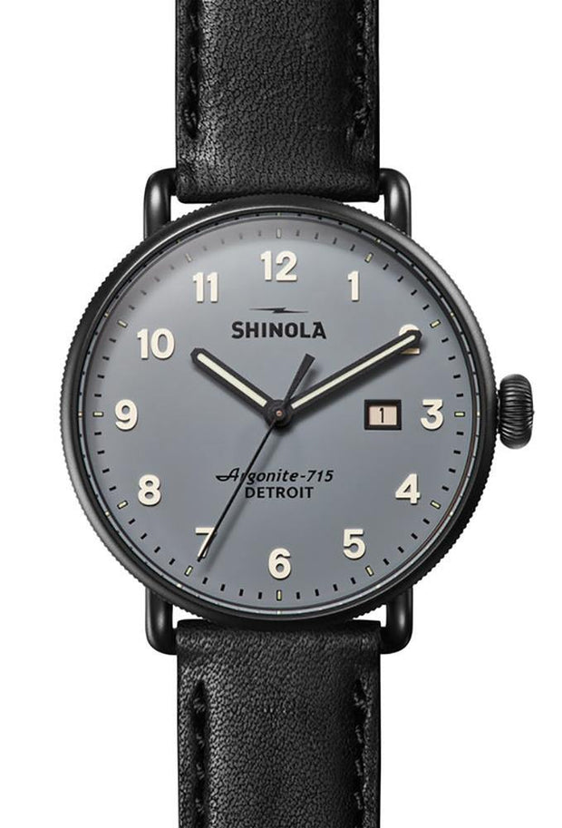 Canfield 43mm Watch with Gray Dial and Black Leather Strap