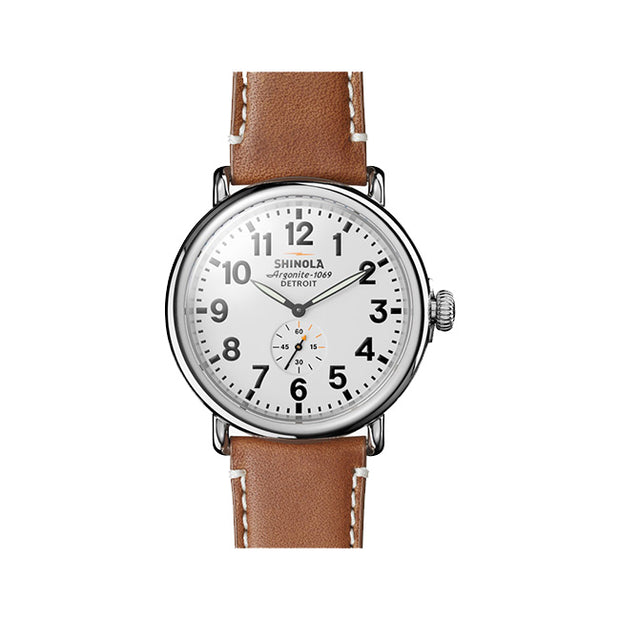 Runwell 47mm Watch on a Brown Leather Strap