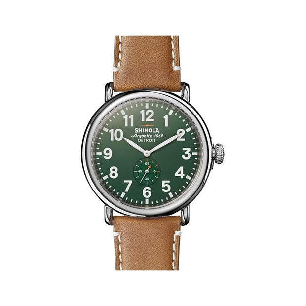 Runwell 47mm Green Dial Watch on a Brown Leather Strap - TIVOL