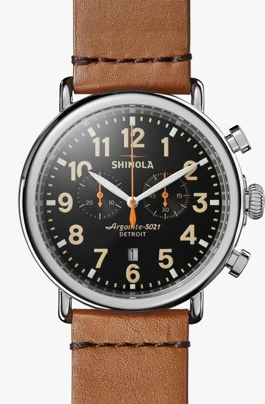 Runwell Chronograph 47mm Watch with Black Arabic Dial and Tan Leather Strap - TIVOL