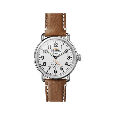 Runwell 41mm Stainless Steel Case with a White Dial Watch on a Brown Leather Strap