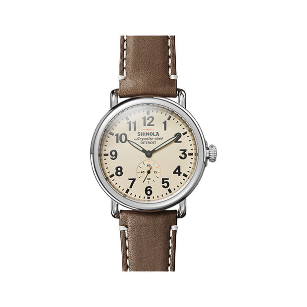 Runwell 41mm Stainless Steel Case and a Cream Dial Watch on a Dark Coffee Leather Strap