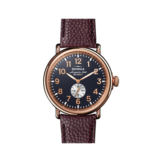 Runwell 47mm Stainless Steel Rose Gold Plated Case with a Midnight Blue Dial Watch with an Oxblood Leather Strap