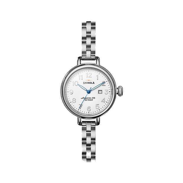 Runwell Birdy 34mm Stainless Steel Case with a White Dial Watch on a Stainless Steel Link Bracelet