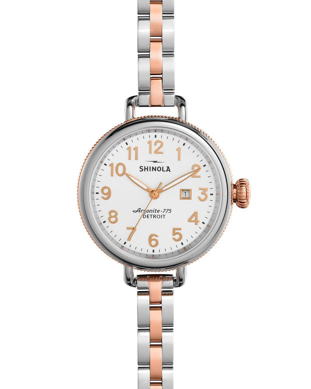 Birdy 34mm Watch with Pearl White Dial and Stainless and Rose Gold Plated Bracelet - TIVOL