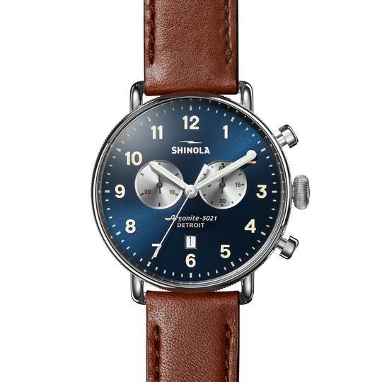 Canfield Chronograph 43mm Watch with Blue Dial and Cognac Leather Strap