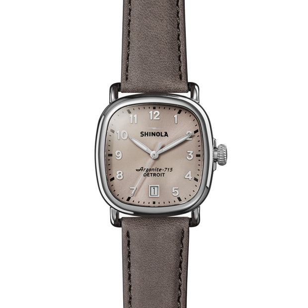 Guardian 36mm Watch with Nude Pink Arabic Dial and Heather Gray Leather Strap