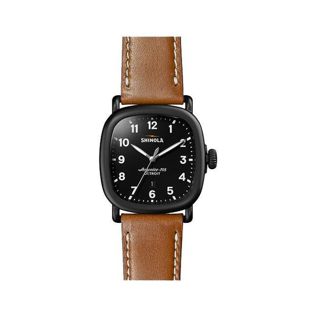 Guardian 41.5x43mm Watch with Black Matte Dial and Tan Leather Strap - TIVOL