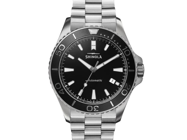 Lake Superior Monstor 43mm Watch with Black Dial and Stainless Steel Bracelet