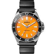 Lake Huron Monster 43mm Watch with Orange Dial and Black Rubber Strap