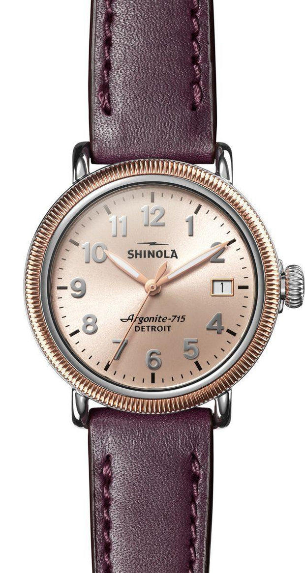 Runwell 38mm Watch with Gold Dial and Aubergine Leather Strap