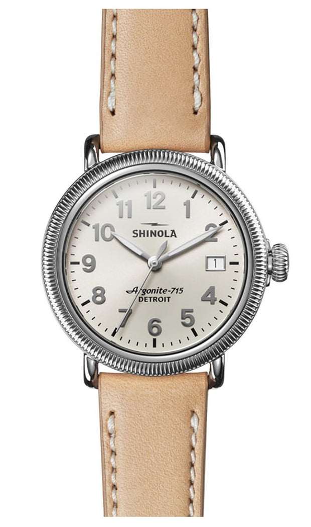 Runwell 38mm Watch with Silver Dial and Natural Leather Strap