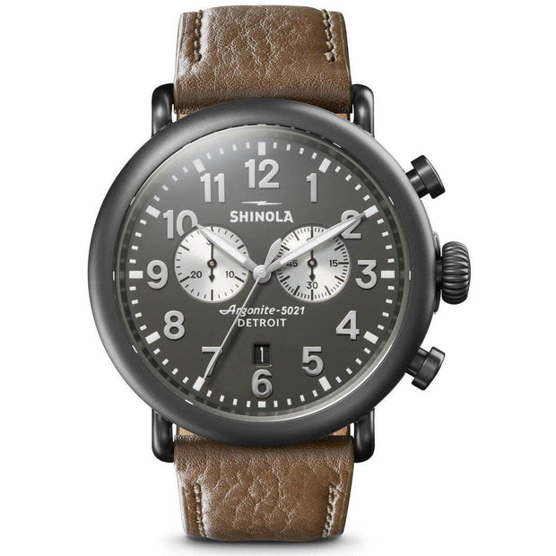 Runwell 47mm Chronograph Watch with Gray Dial and Brown Leather Strap