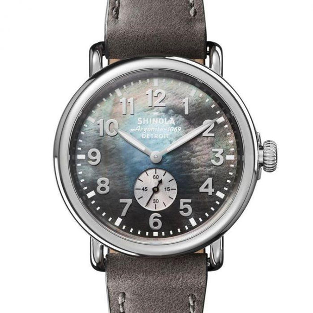 Runwell 41mm Watch with Gray Mother of Pearl Dial and Gray Leather Strap
