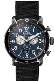 Runwell Gunmetal 48mm Watch with Midnight Blue Dial and Black Tin Cloth Strap
