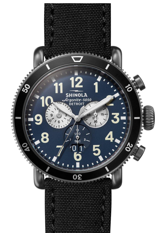 Runwell Gunmetal 48mm Watch with Midnight Blue Dial and Black Tin Cloth Strap - TIVOL