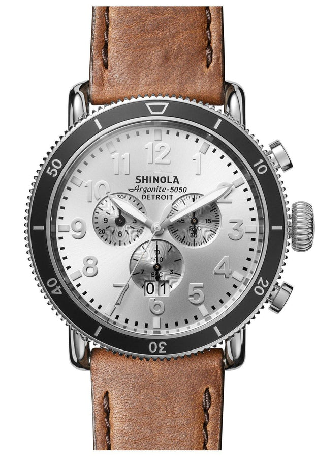 Runwell 48mm Chronograph Watch with Silver Sunray Dial and British Tan Leather Strap