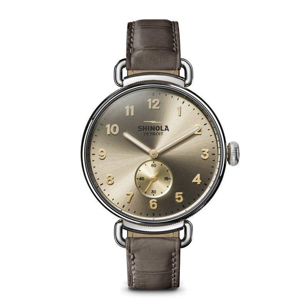 Canfield 38mm Watch with Metallic Taupe Dial and Bown Alligator Strap