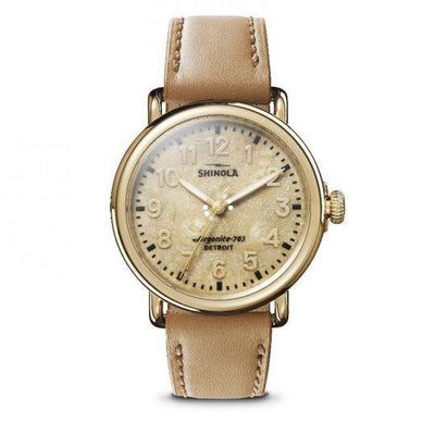 Runwell 41mm Watch with Petoskey Stone Dial and Camel Leather Strap