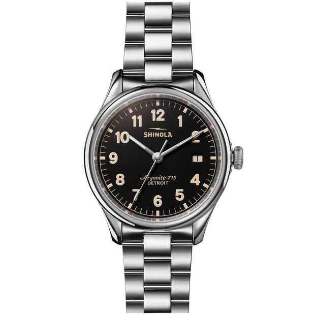 Vinton 38mm Watch with Black Dial and Stainless Steel Bracelet - TIVOL