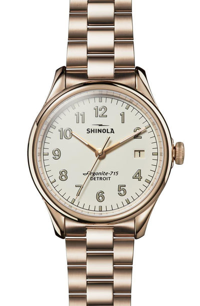 Vinton 38mm Watch with Ivory Dial and Champagne Gold Plated Bracelet