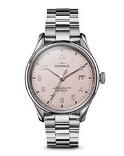 Vinton 38mm Watch with Light Pink Dial and Stainless Steel Bracelet