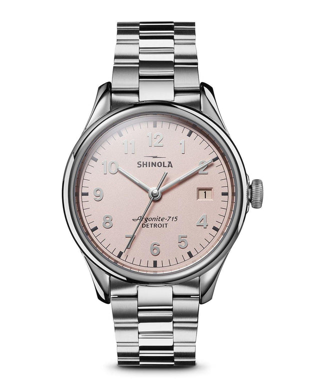 Vinton 38mm Watch with Light Pink Dial and Stainless Steel Bracelet - TIVOL