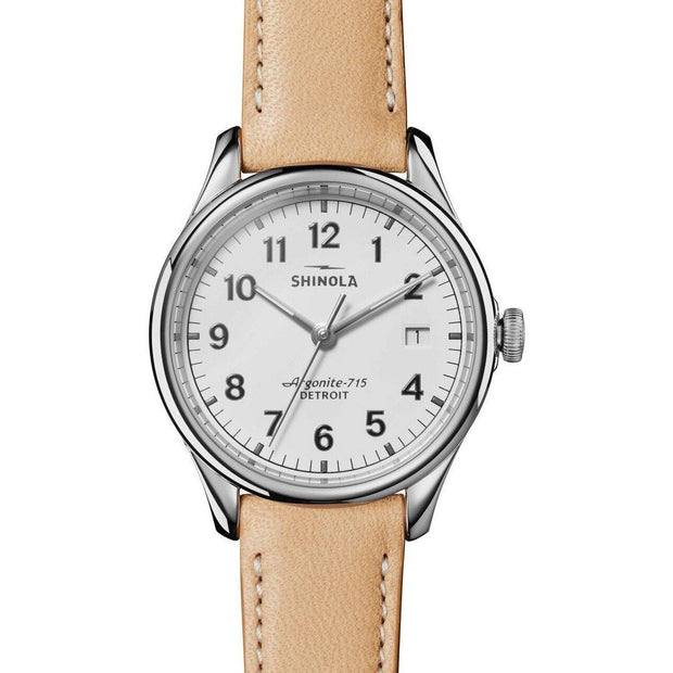 Vinton 38mm Watch with White Arabic Dial and Natural Leather Strap