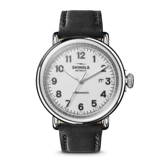Runwell 45mm Watch with White Arabic Dial and Black Leather Strap