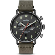 Canfield 43mm Watch with a Gunmetal Dial and Stone Leather Strap