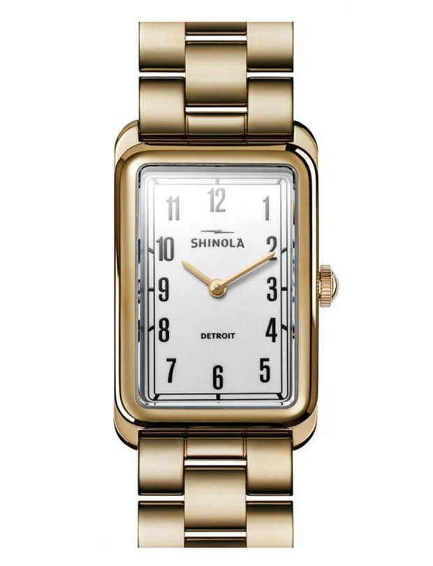 Muldowney 24x32mm Watch with White Enamel Dial and Yellow Gold Bracelet