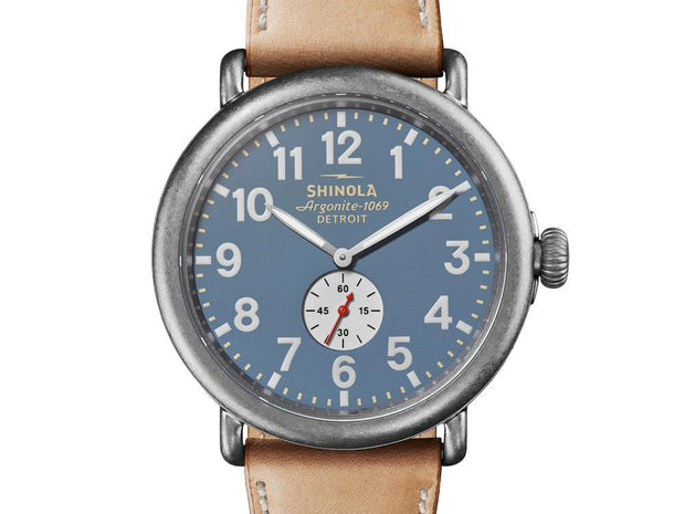 Runwell 47mm Watch with True Blue Dial and Natural Leather Strap