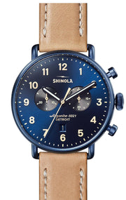 Canfield Chronograph 43mm Watch with Midnight BLue Dial and Natural Leather Strap
