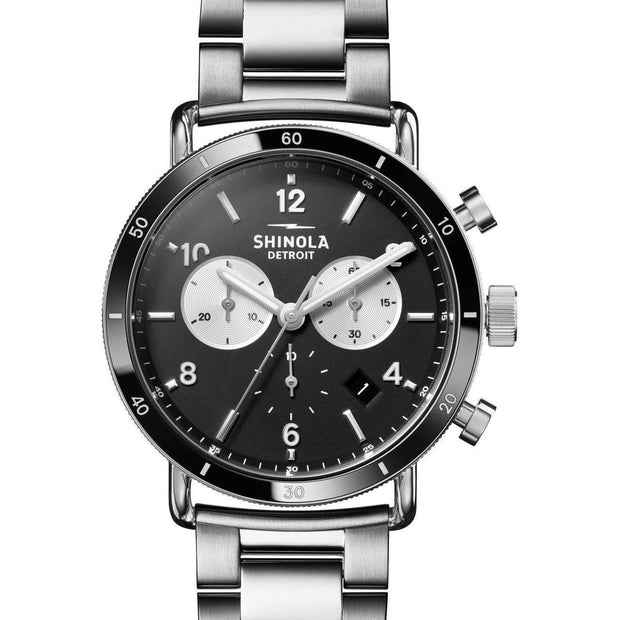 Canfield Sport Chronograph 40mm Watch with Black Dial and Stainless Steel Bracelet