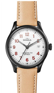 Vinton 38mm Watch with White Dial and Natural Leather Strap