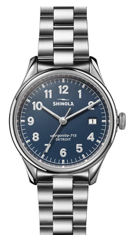 Vinton 38mm Watch with Blue Dial and Stainless Steel Bracelet