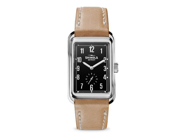 Omaha 26x36.5mm Watch with Black Arabic Dial and Natural Leather Strap