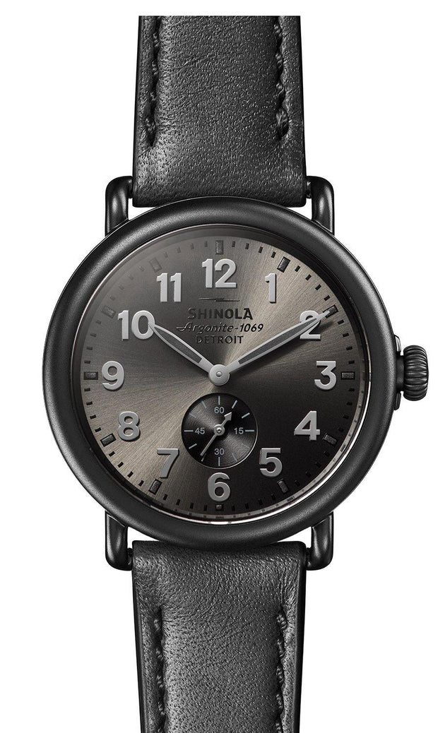 Runwell 41mm Black Watch with Gunmetal Dial and Black Leather Strap