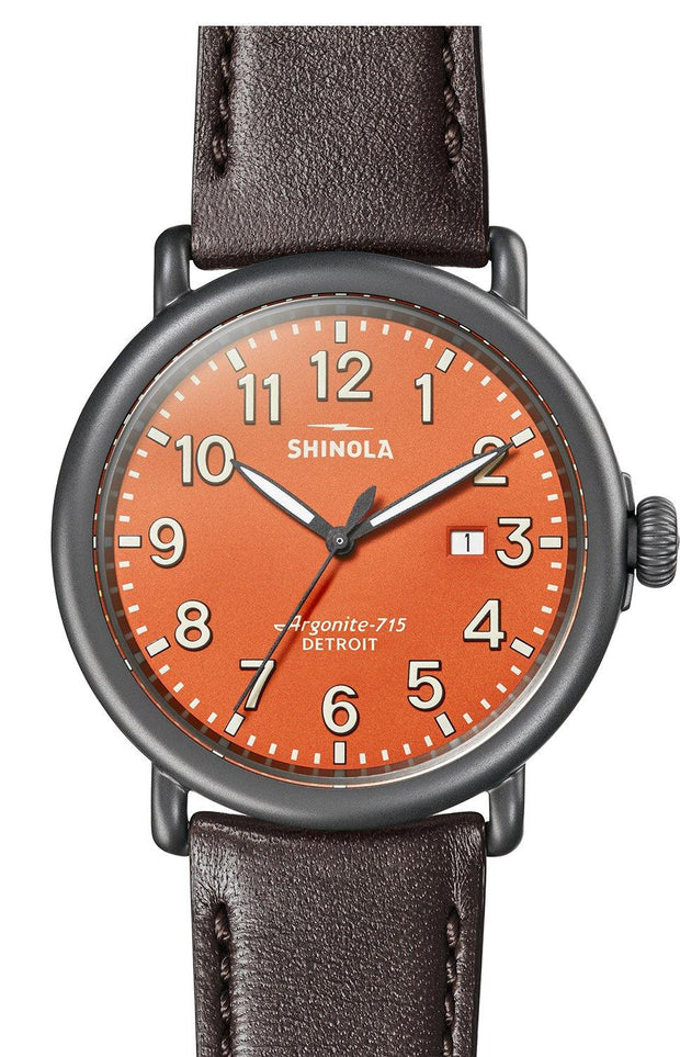 Runwell 47mm Gunmetal Watch with Persimmon Dial and Kodiak Brown Leather Strap