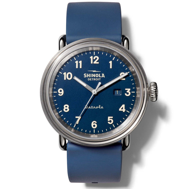 "Detrola ""Daily Wear"" 43mm Watch with Midnight Blue Dial and Blue Silicone Strap - TIVOL"