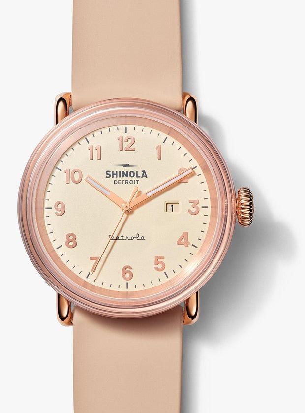 "Detrola ""The Pinky"" 43mm Rose Gold Watch with Cream Dial and Blush Silicone Strap"